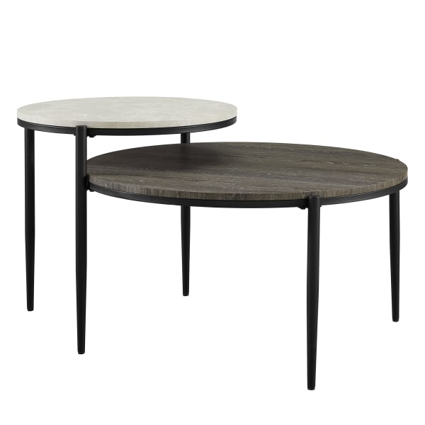 Light Gray Faux Marble Ash Round Tiered Coffee Table Pier 1