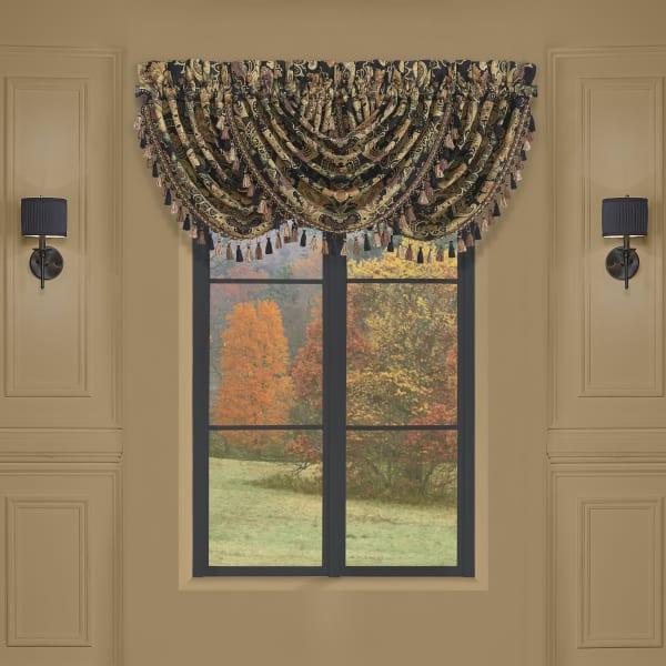 Tiffany Black Window Waterfall Valance