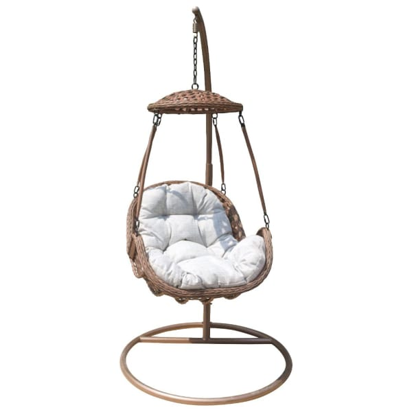 Brown Princeton 2-Piece Hanging Basket Floating Chair with Stand