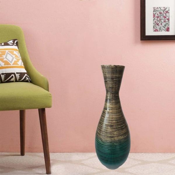 Artisan Teal Spun Bamboo Vase