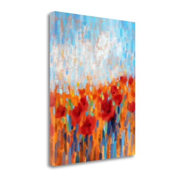 Poppy Walk By Claire Hardy Wrapped  Canvas Wall Art