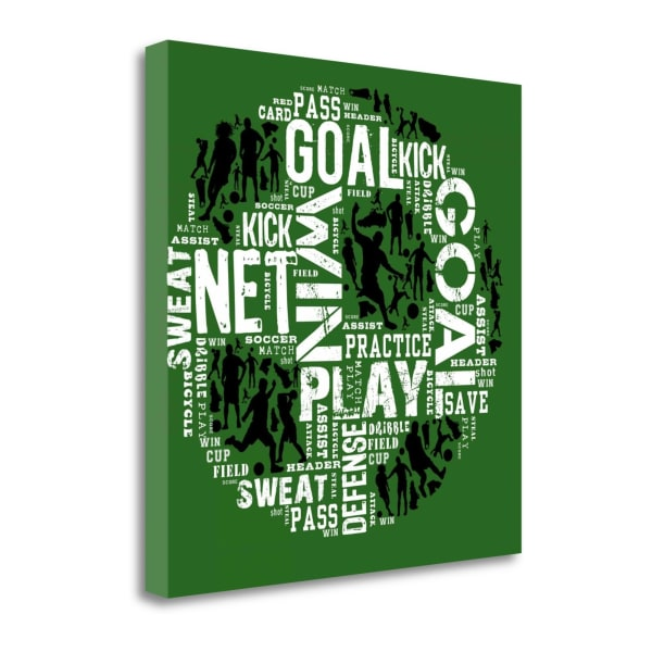 Soccer - Green By Jim Baldwin Wrapped Canvas Wall Art
