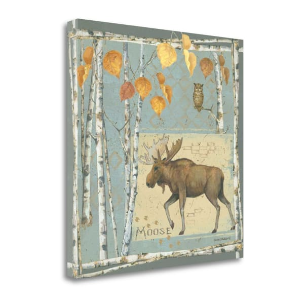Moose On Blue By Anita Phillips Wrapped Canvas Wall Art