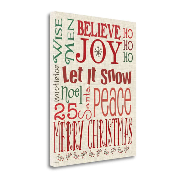 Christmas Typography Linen Wrapped Canvas Wall Art