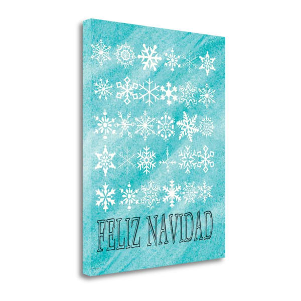 Feliz Navidad Snowflakes By Jo Moulton Wrapped Canvas Wall Art