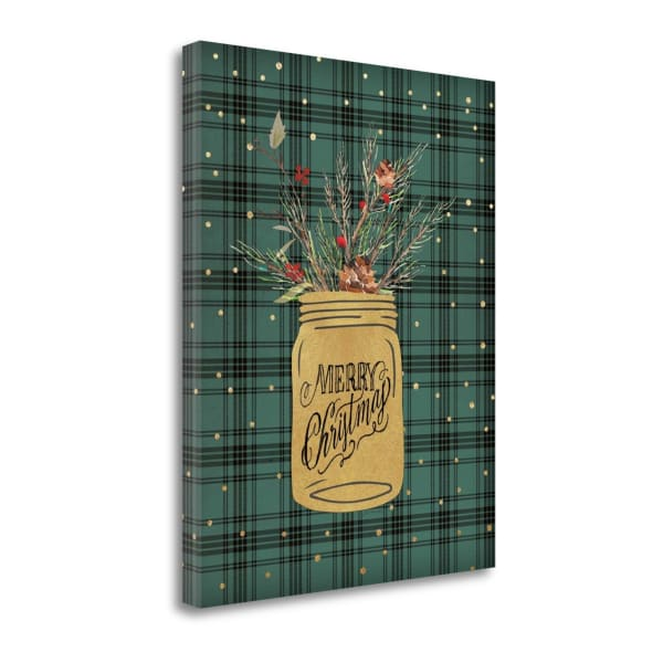 Merry Christmas Jar By Jo Moulton Wrapped Canvas Wall Art