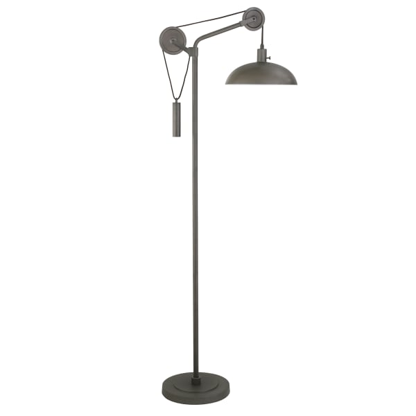 Neo Aged Steel Floor Lamp with Solid Wheel Pulley System