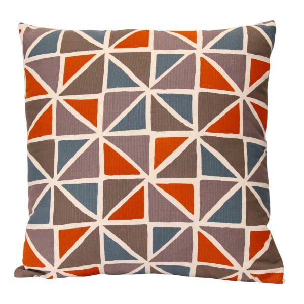 Geometric Design Orange and Blue Pillow