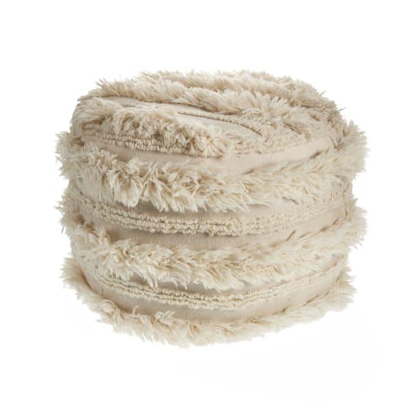 Hygge Faux Fur Ivory Pouf
