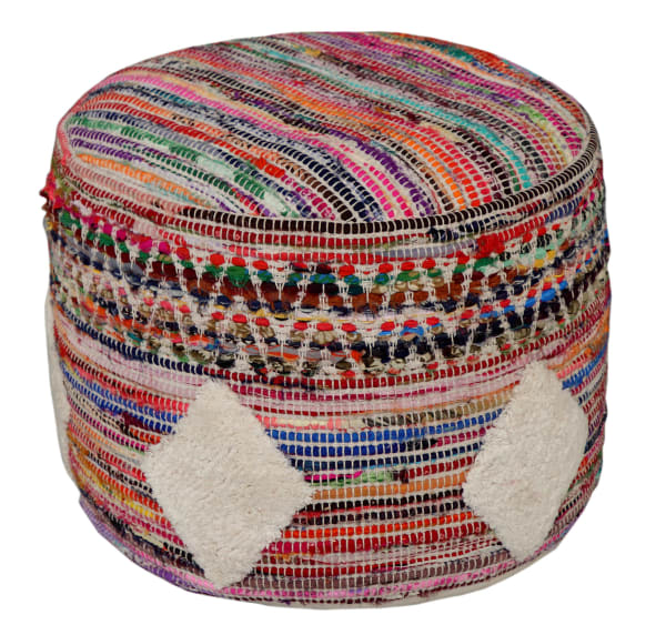 Bohemian Geometric Multicolored Pouf
