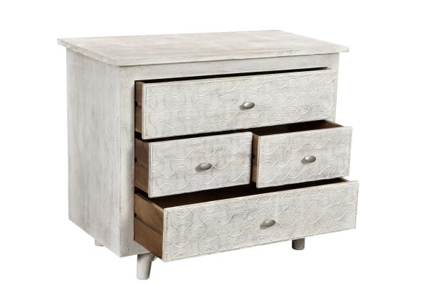 Gridley 4-Drawer White Wash Nightstand