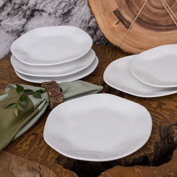 RYO 12 Piece White Porcelain Salad Plate Set