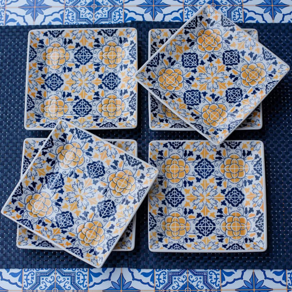 Quartier 6 Piece Blue and Yellow Square Porcelain Salad Plate Set