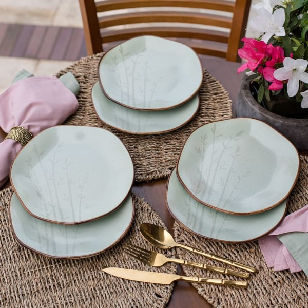 RYO 6 Piece Green Porcelain Salad Plate Set
