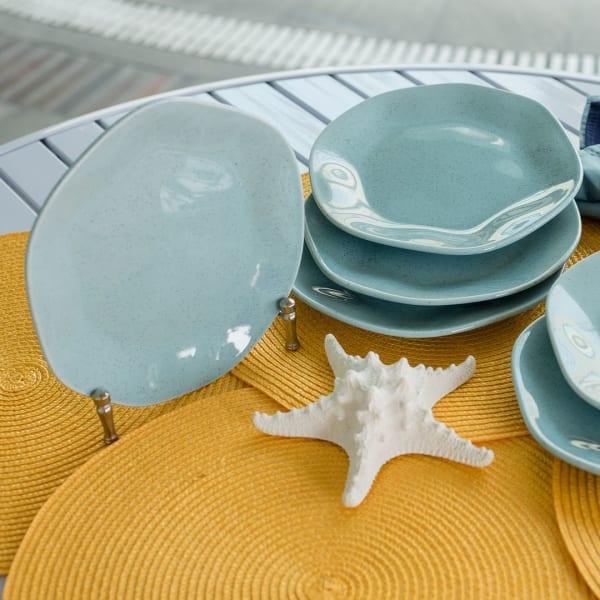 RYO 6 Piece Light Blue Porcelain Salad Plate Set