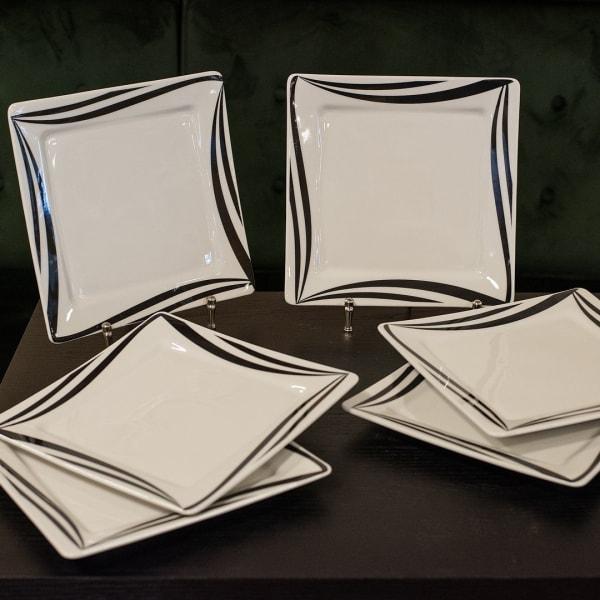 Nara 12 Piece Black and Ivory Square Dinner Plate Set