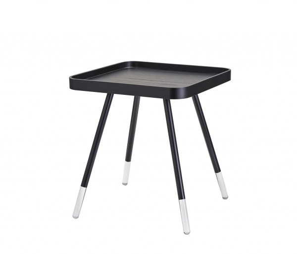 Contemporary Black Wood Grain Tray Top Side End Table