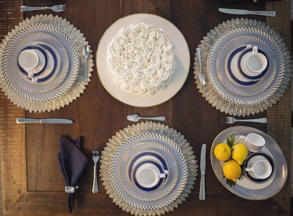 Flamingo 42 Piece Blue and White Dinnerware Set