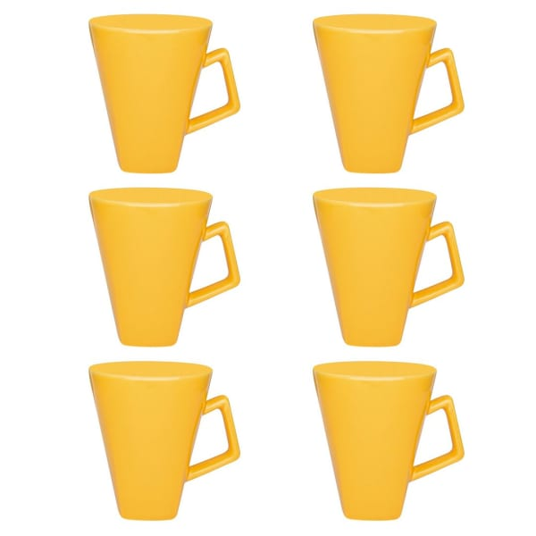 Quartier Yellow Beveled 12 Piece Mug Set