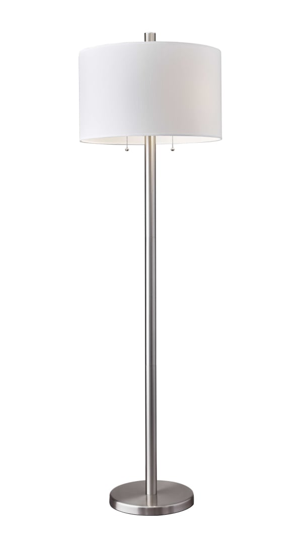 Classic Steel with Double Bulb and White Shade Floor Lamp