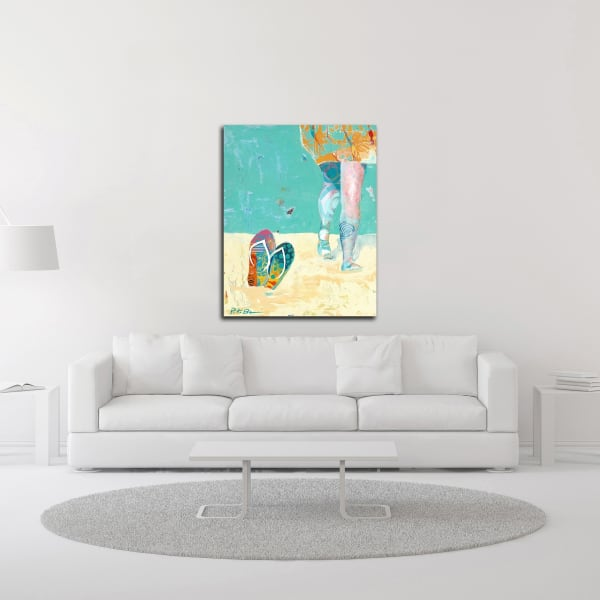 Flip Flops on the Beach by Pamela K. Beer Wrapped Canvas Wall Art