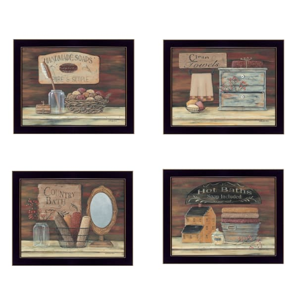 Bathroom Collection I 4-Piece Vignette by Pam Britton Framed Wall Art