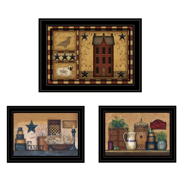Primitive Saltbox 3-Piece Vignette By Carrie Knoff Framed Wall Art