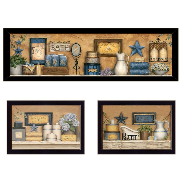 Starlight Bath Collection 3-Piece Vignette by Carrie Knoff Framed Wall Art