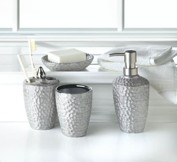 Hammered Silver Texture Bath Accessories Set Pier 1