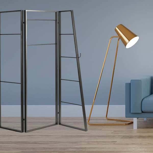 Contemporary Metal Coatrack 3 Panel Room Divider