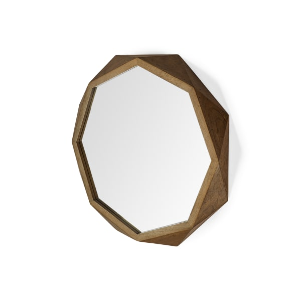 Octagon Wooden Frame Wall Mirror