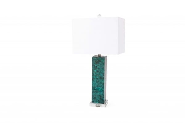Set of 2 Green Mother of Pearl Coastal Table Lamp
