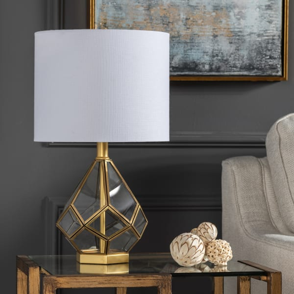 Ainsley Geometric Glass and Metal Table Lamp
