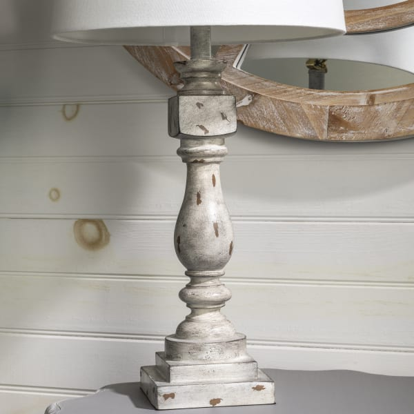 Paloma Distressed Gray Resin Table Lamp