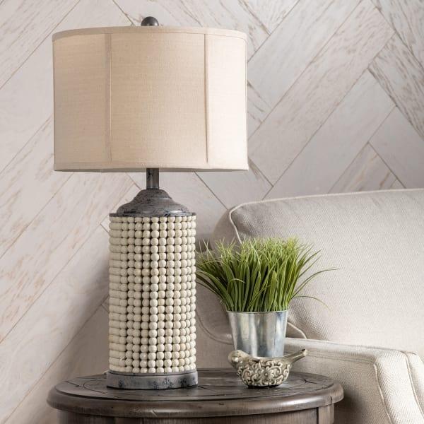 Tabitha Beaded Wood Table Lamp