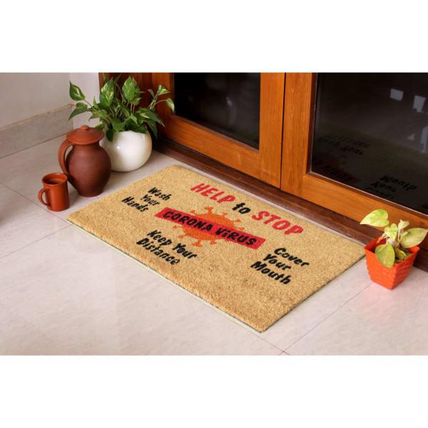 Multi Machine Tufted Help to stop Corona Virus Doormat, 1'5'' x 2'5''
