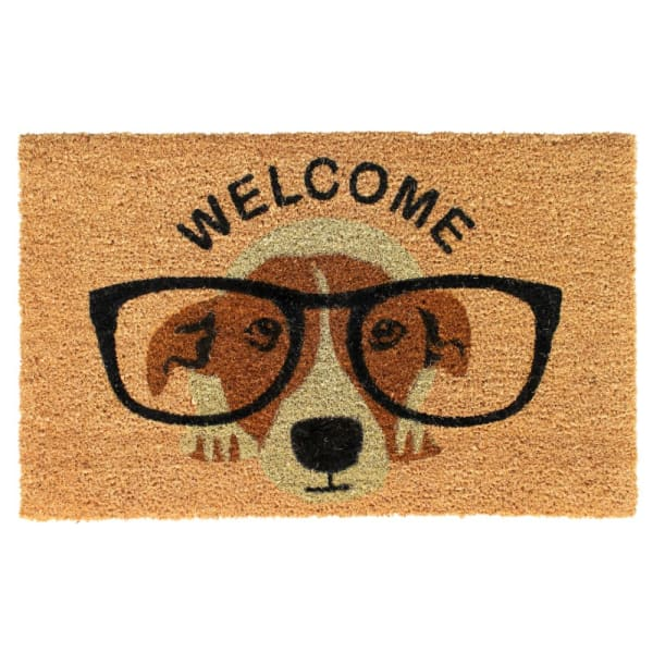 Natural Machine Tufted Dog welcome, 1'5'' x 2'5''