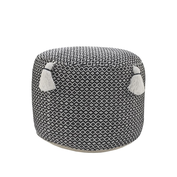 Handcrafted Black Modern Geometric Pouf with Tassels