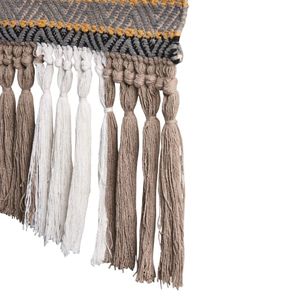 Neutral Geometric Fringe Multicolored Wall Hanging