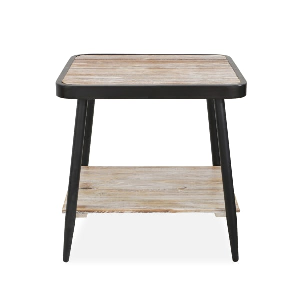 Industrial Style Distressed Whitewash and Gray Side Table