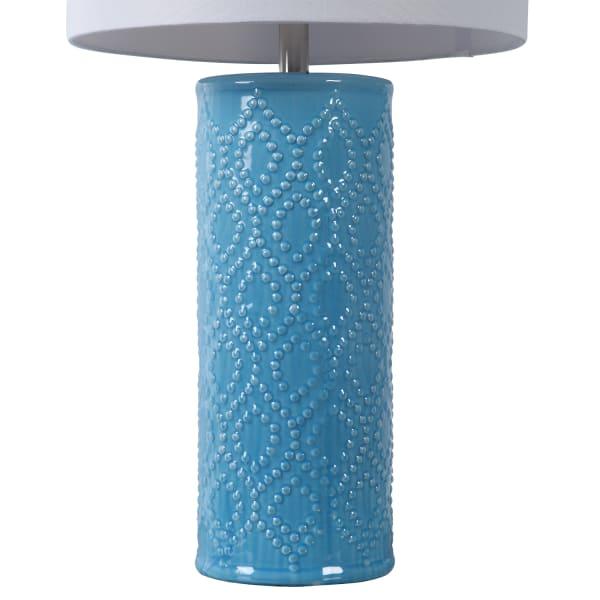 Diamond Shaped Beaded Table Lamp in Sky Blue