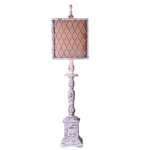Distressed White Traditional Table Lamp with Ivory Linen and Mesh Metal Shade
