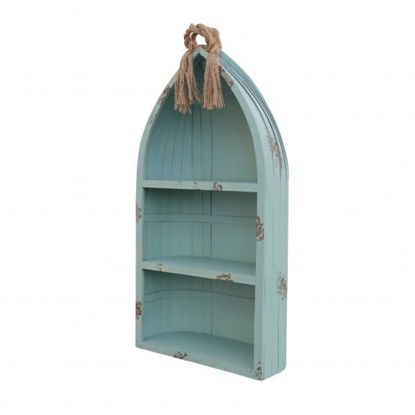 Distressed Blue Canoe Hanging Shelf Wall Accent