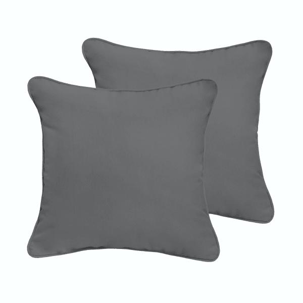 Charcoal Grey Set of 2 Outdoor Pillows
