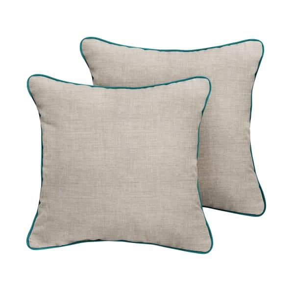 Sunbrella Cast Silver/Spectrum Peacock Set of 2 Outdoor Pillows