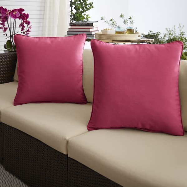 Sunbrella Canvas Hot Pink Set of 2 Outdoor Pillows