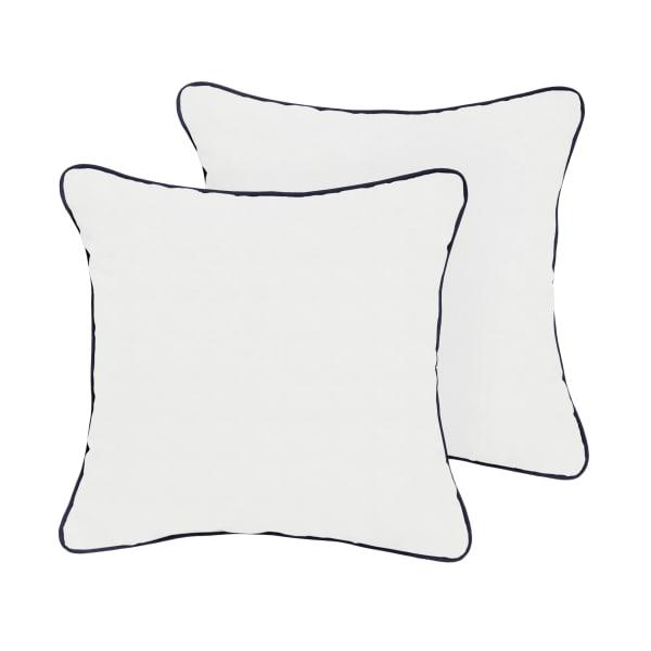 Sunbrella Canvas Natural/Canvas Navy Set of 2 Outdoor Pillows