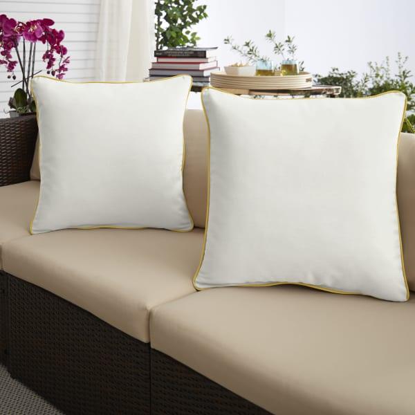 Sunbrella Canvas Natural/Sunflower Yellow Set of 2 Outdoor Pillows
