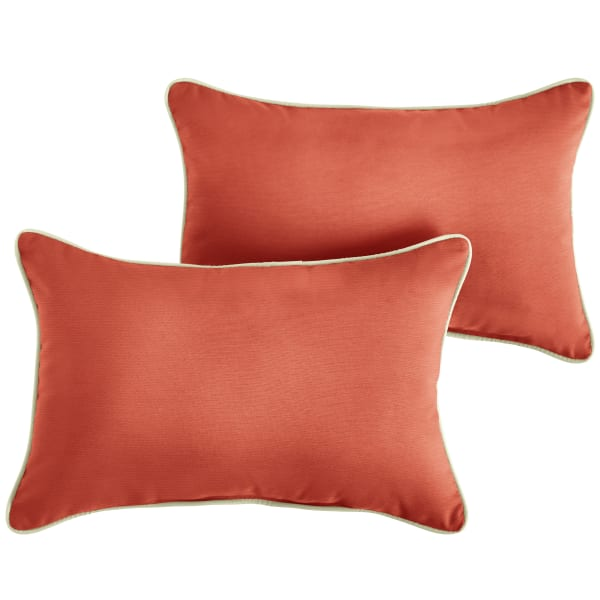 Sunbrella Corded Canvas Melon/Canvas Natural Set of 2 Outdoor Lumbar Pillows