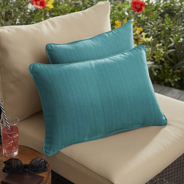 Sunbrella Dupione Deep Sea Set of 2 Outdoor Lumbar Pillows